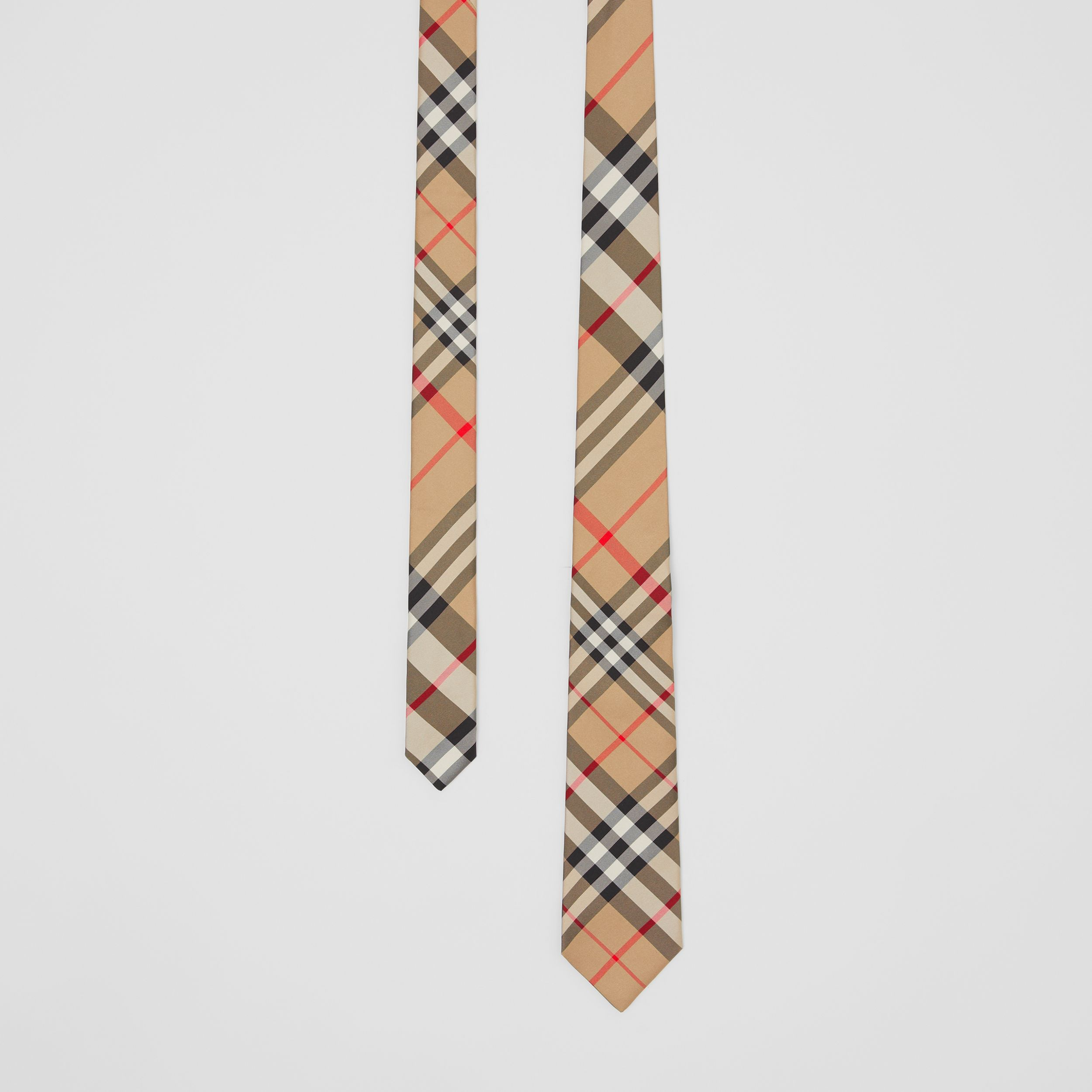 Classic Cut Check Silk Tie in Archive Beige - Men | Burberry United Kingdom - 1
