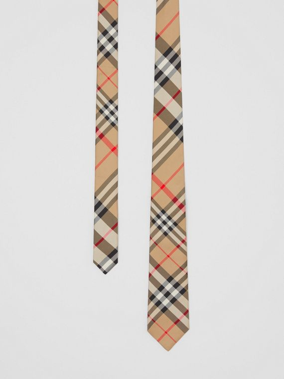 Gravata de seda com estampa xadrez e corte clássico (Bege Clássico)