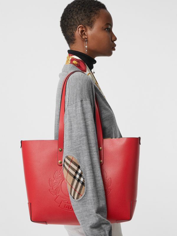 Small Embossed Crest Leather Tote in Rust Red - Women | Burberry United Kingdom - cell image 3