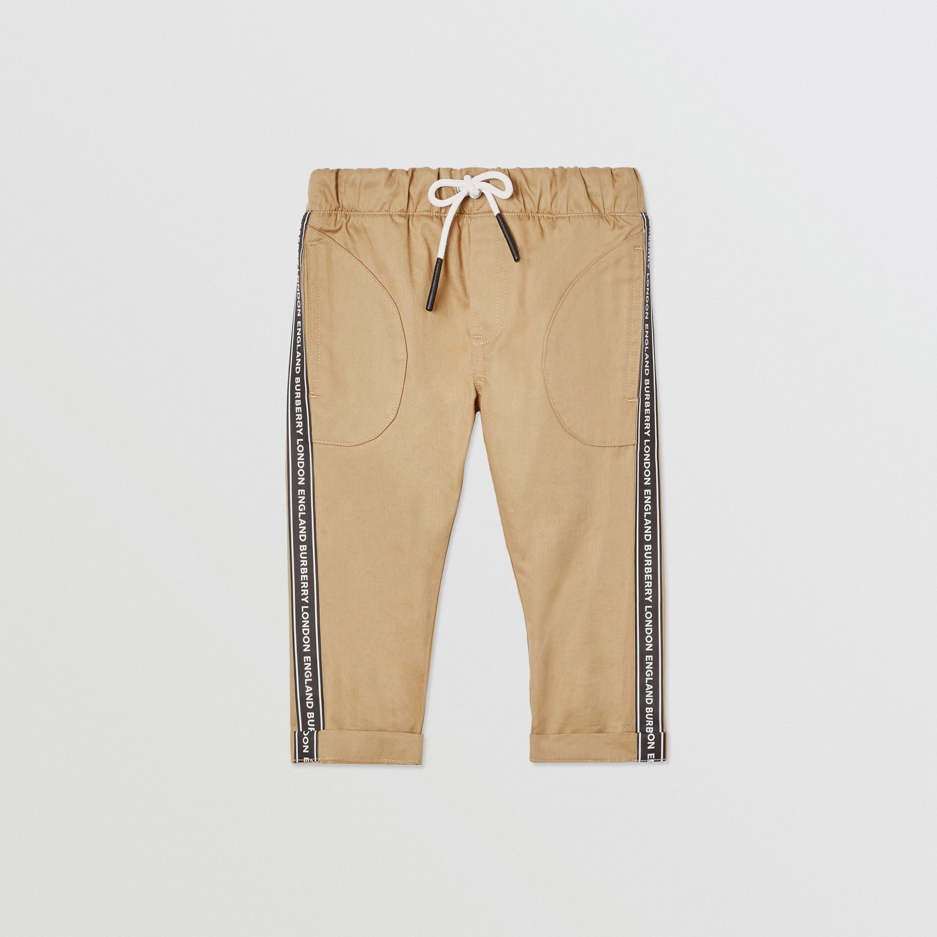 Logo Tape Cotton Chinos in Honey - Children | Burberry United Kingdom - gallery image 0