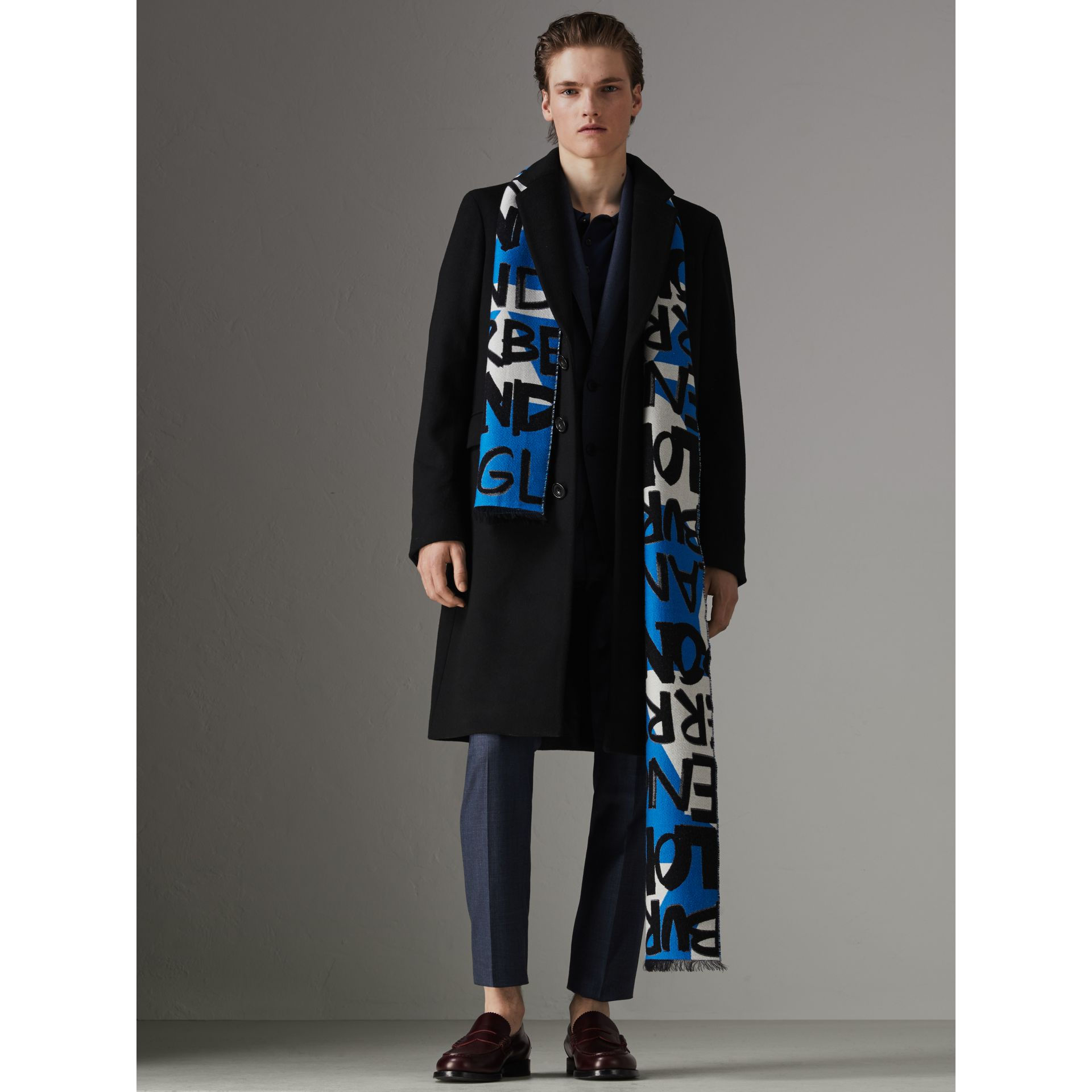 Graffiti Cotton Jacquard Scarf in Bright Sky Blue | Burberry United Kingdom - gallery image 3