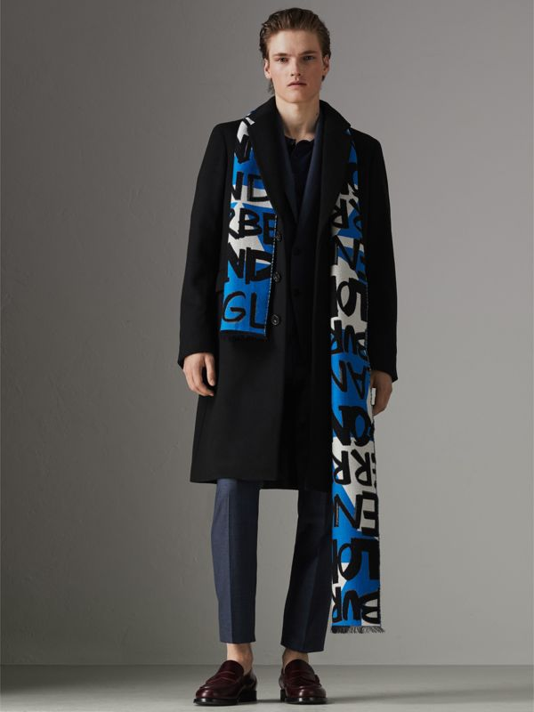 Graffiti Cotton Jacquard Scarf in Bright Sky Blue | Burberry Australia - cell image 3