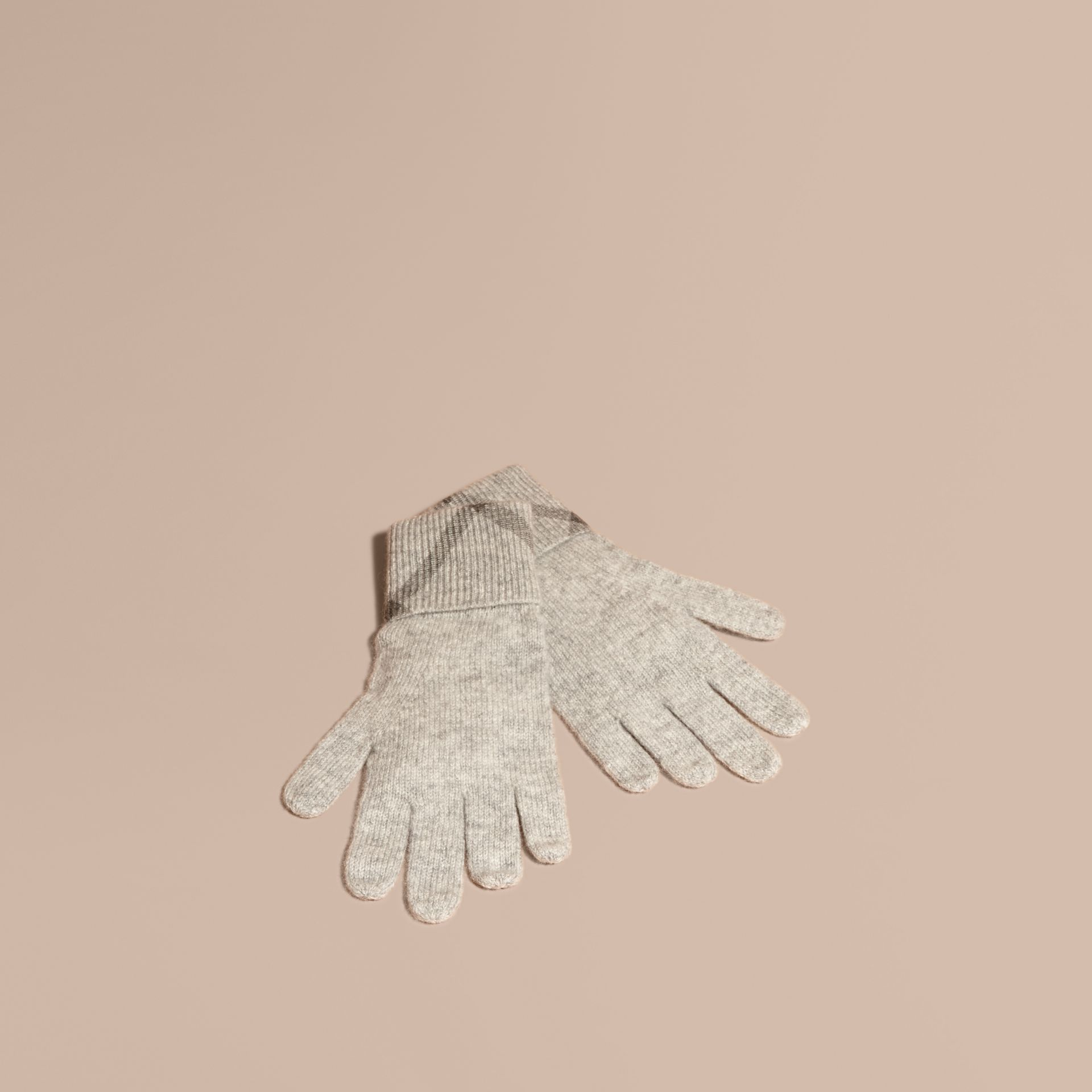 Pale grey melange Check Detail Cashmere Gloves - gallery image 1