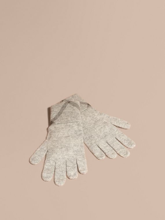 Check Detail Cashmere Gloves