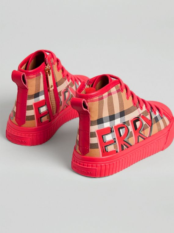 Graffiti Vintage Check High-top Sneakers in Bright Red | Burberry United Kingdom - cell image 2
