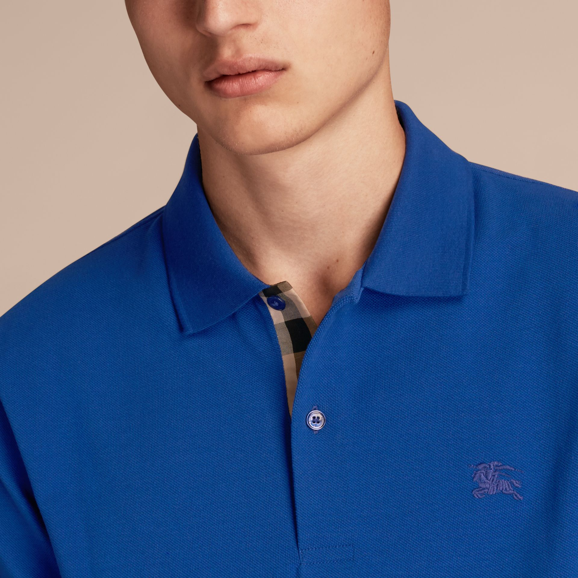 Check Placket Cotton Piqué Polo Shirt in Brilliant Blue - gallery image 5
