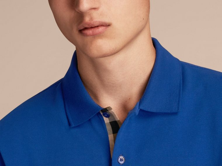 Check Placket Cotton Piqué Polo Shirt in Brilliant Blue - cell image 4