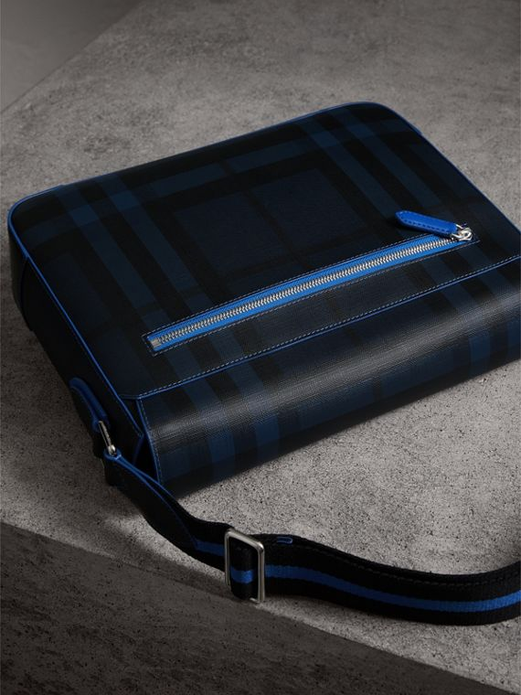 Medium Two-tone London Check Messenger Bag in Navy/blue - Men | Burberry - cell image 3