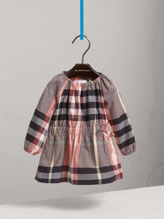 Gathered Check Cotton Flannel Dress in Dusty Pink | Burberry - cell image 2