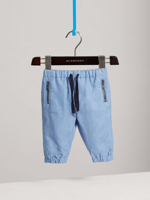 Pantaloni pull-on in chambray (Blu Acciaio)