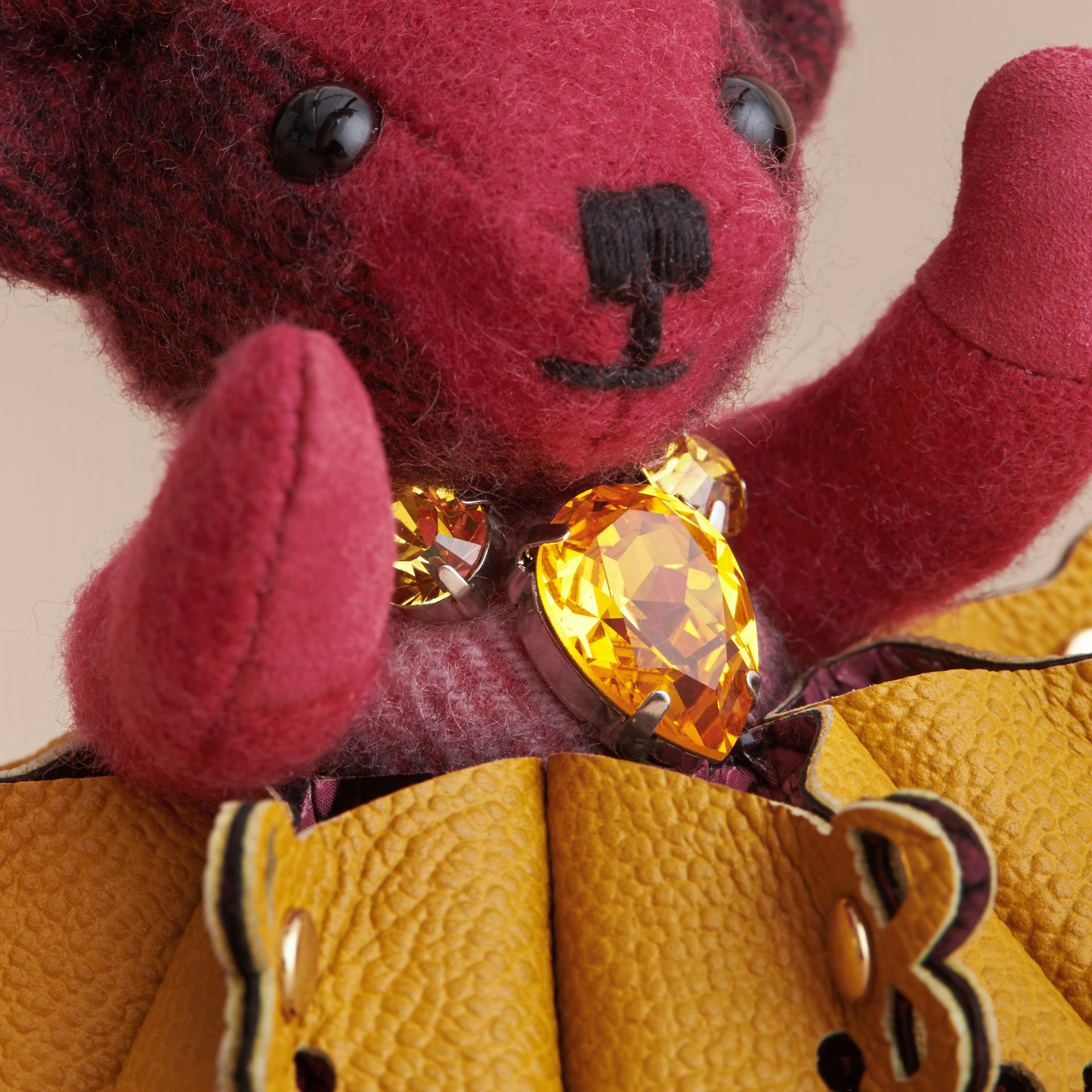 Thomas Bear Charm in Leather Lace and Crystals - gallery image 2