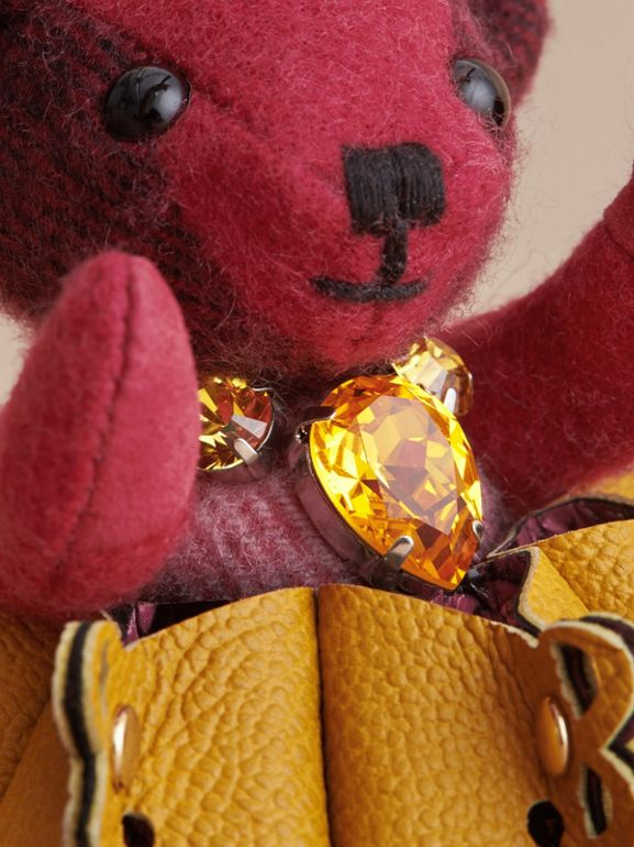 Thomas Bear Charm in Leather Lace and Crystals in Fuchsia Pink - Women | Burberry - cell image 1