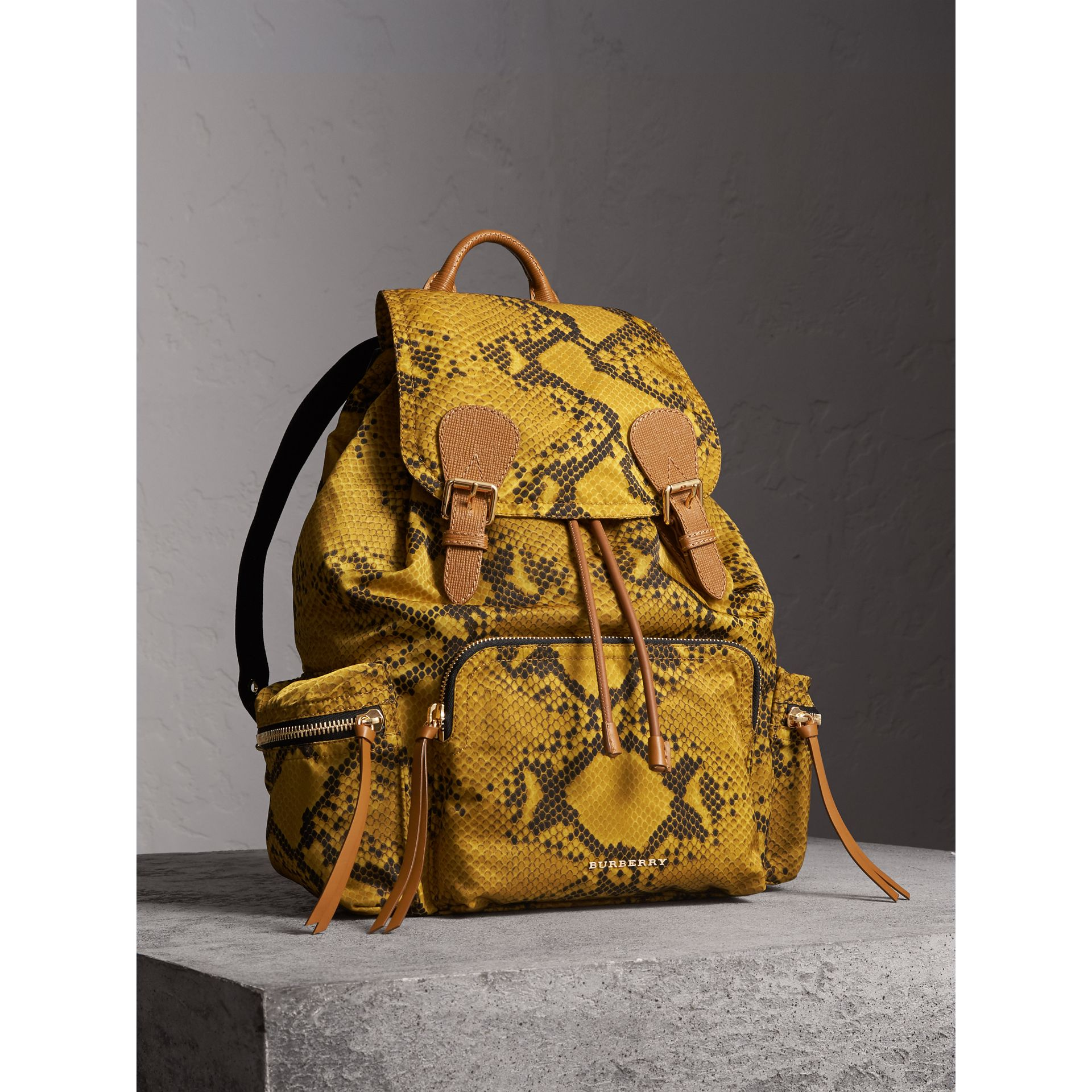The Large Rucksack in Python Print Nylon and Leather in Yellow - Women | Burberry - gallery image 7