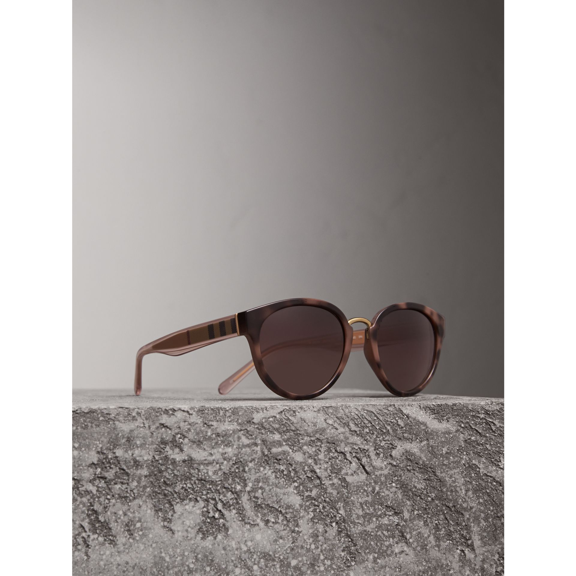 Check Detail Cat-eye Frame Sunglasses in Mink - Women | Burberry United Kingdom - gallery image 0