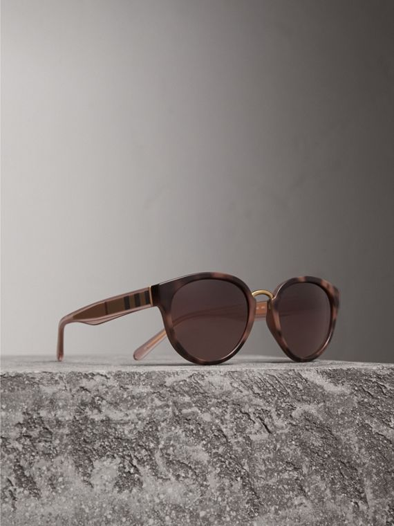 Check Detail Cat-eye Frame Sunglasses in Mink - Women | Burberry Canada