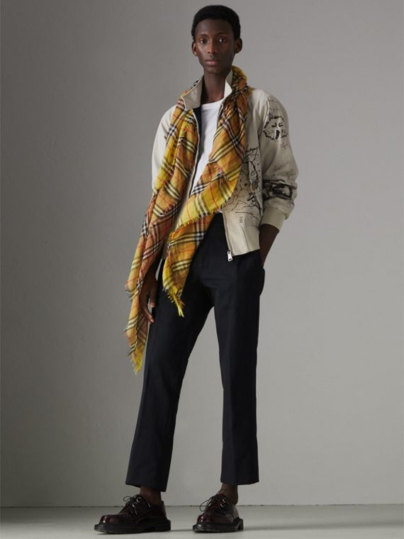 Two-tone Vintage Check Cotton Square Scarf in Bright Lemon | Burberry United States - cell image 3