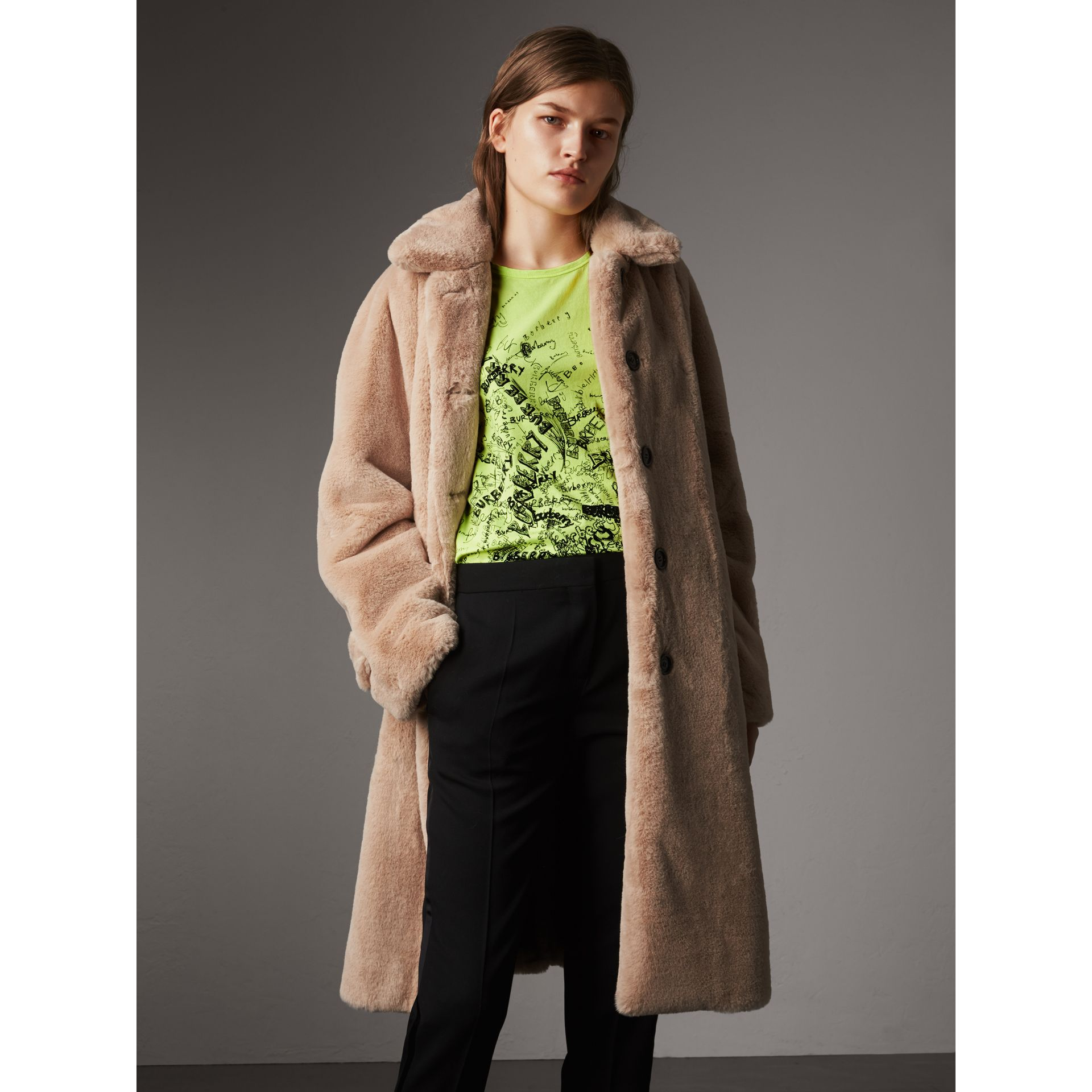 Faux Fur Single-breasted Car Coat in Nude - Women | Burberry - gallery image 0