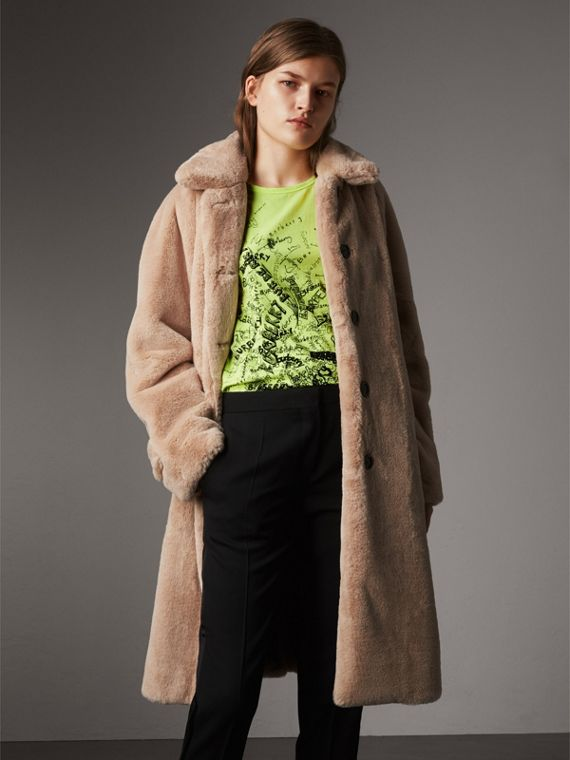 Faux Fur Single-breasted Car Coat in Nude