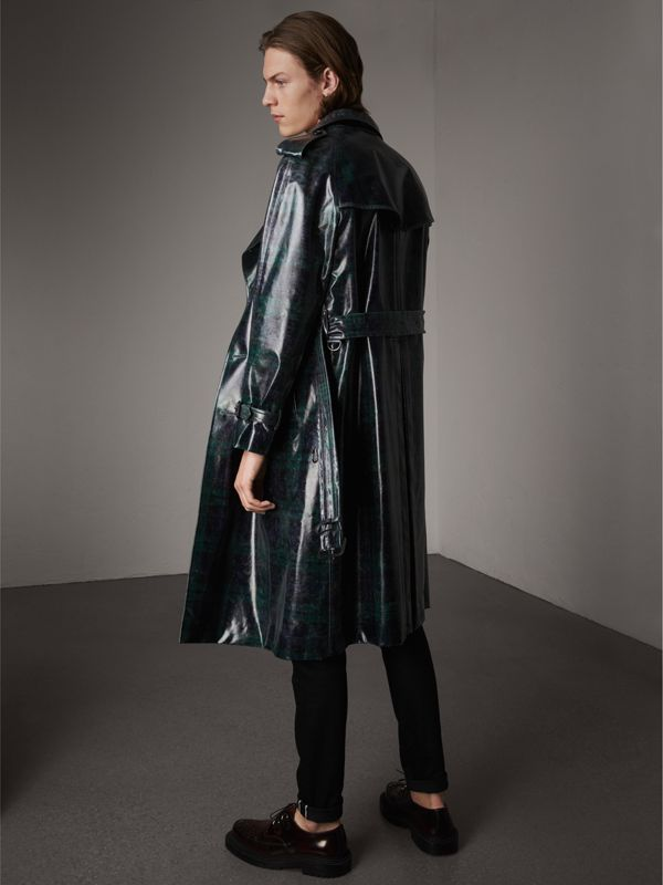 Laminated Tartan Wool Trench Coat in Navy - Men | Burberry - cell image 2