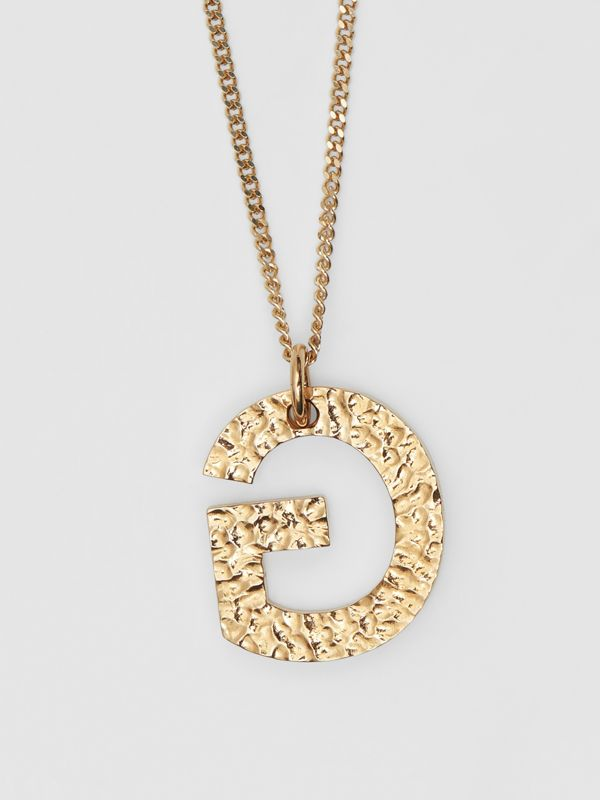 'G' Alphabet Charm Gold-plated Necklace in Light - Women | Burberry United Kingdom - cell image 2