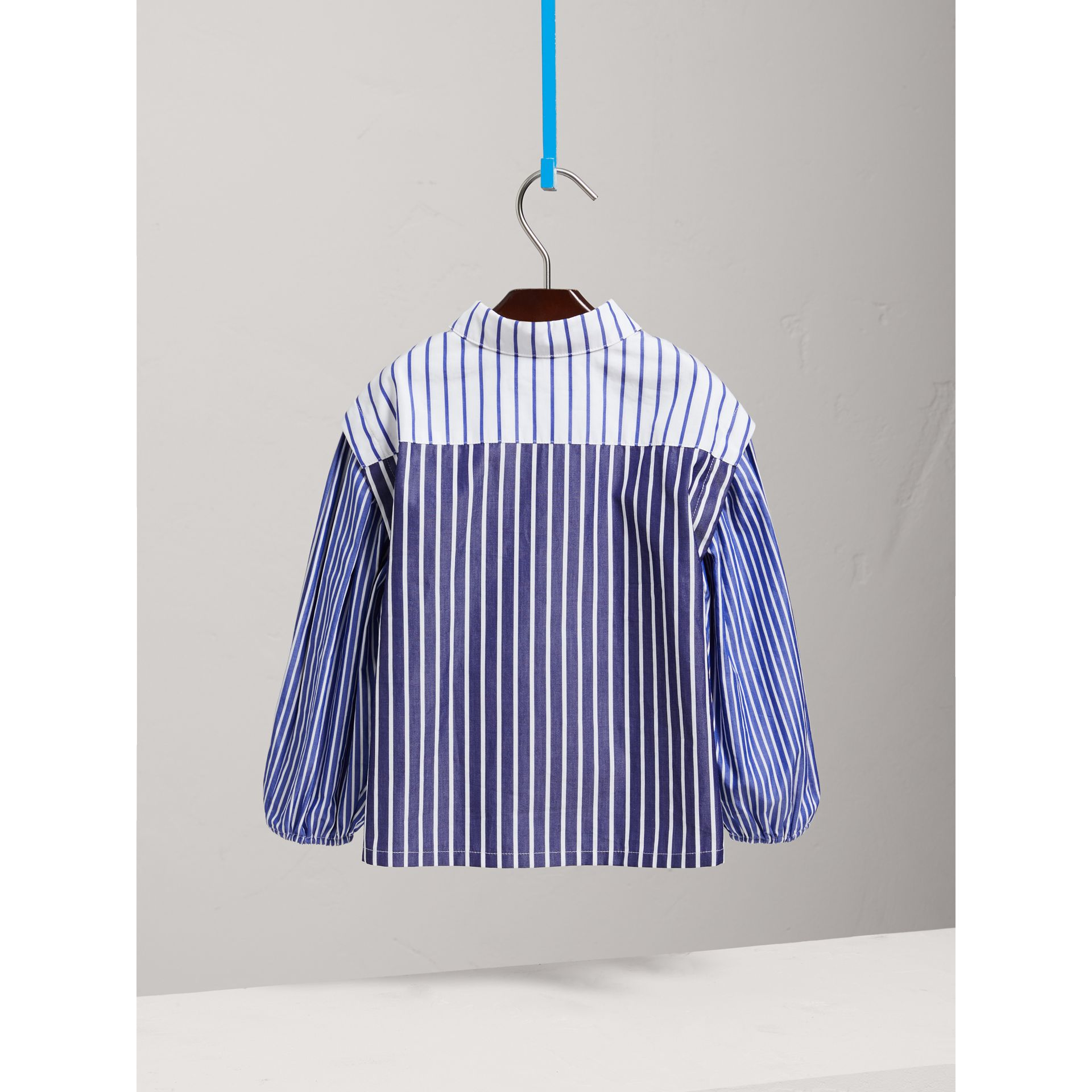 Contrasting Stripe Cotton Tunic Shirt in Indigo - Girl | Burberry - gallery image 3
