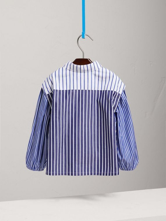 Contrasting Stripe Cotton Tunic Shirt in Indigo - Girl | Burberry - cell image 3