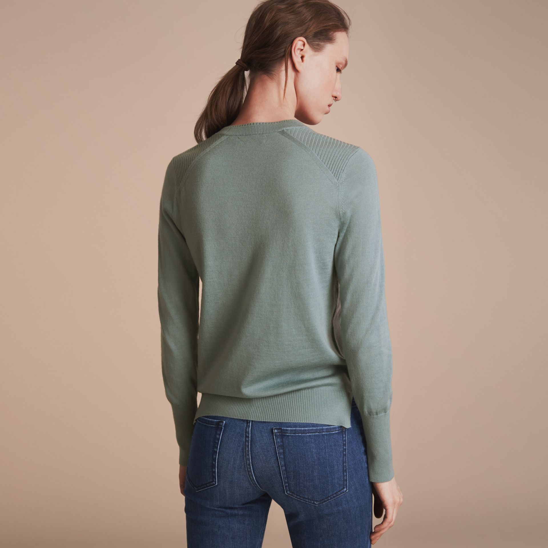 Check Detail Merino Wool Sweater in Pale Eucalyptus - Women | Burberry - gallery image 3
