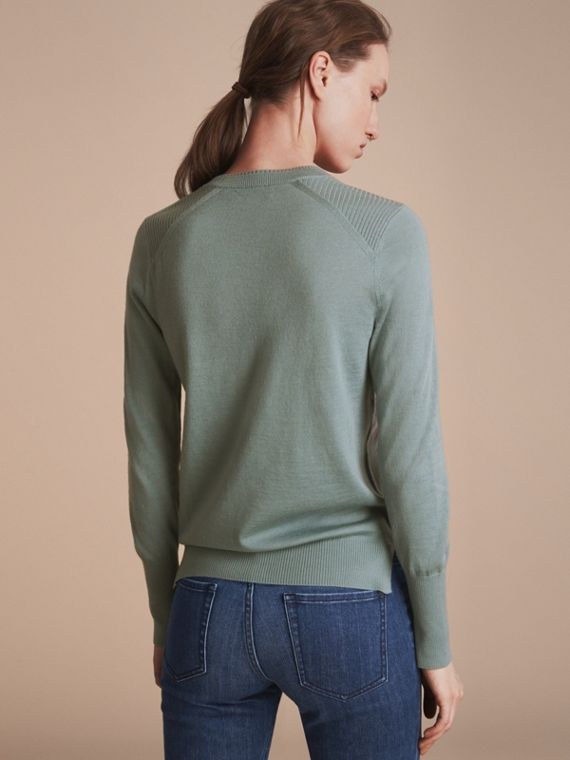 Check Detail Merino Wool Sweater in Pale Eucalyptus - Women | Burberry - cell image 2