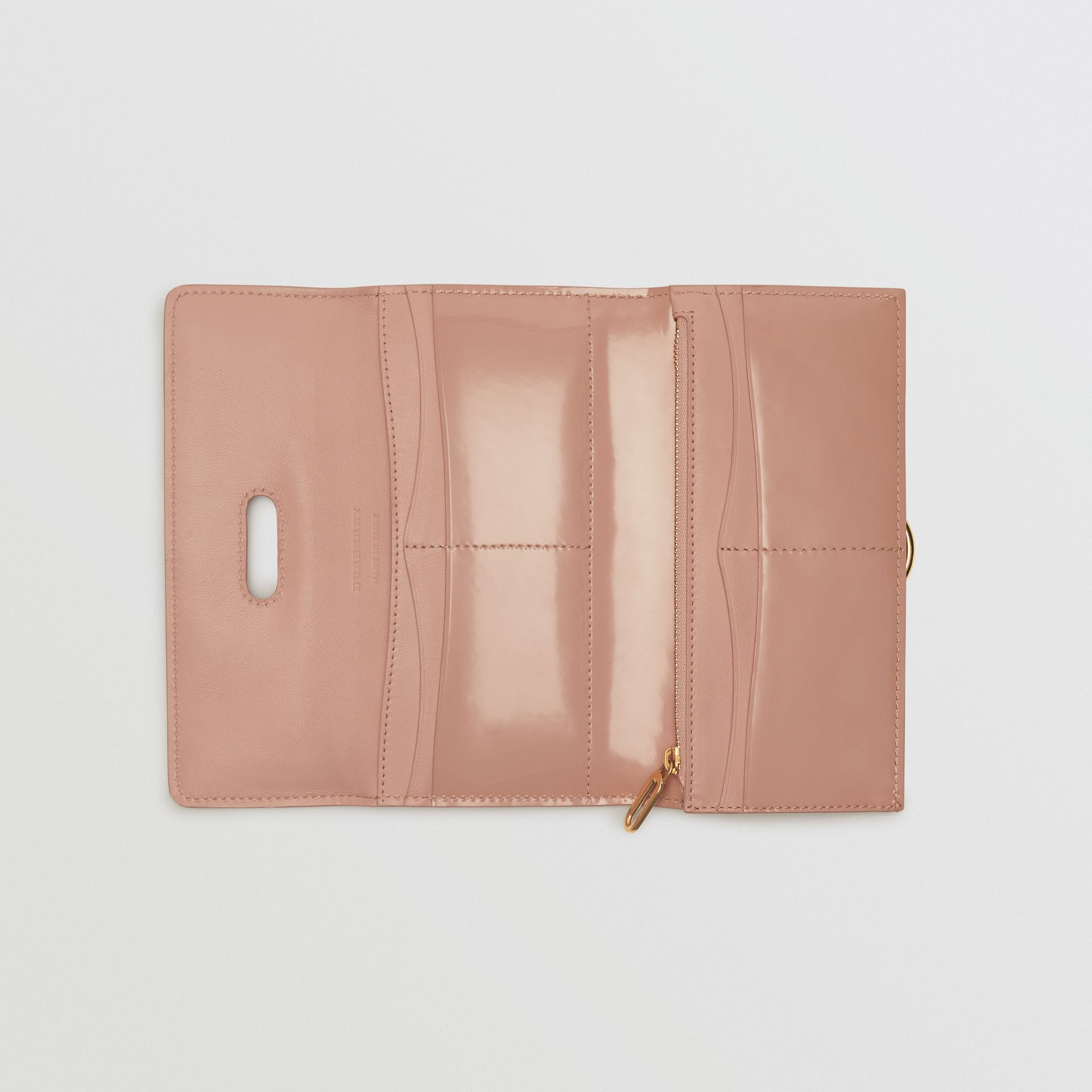 D-ring Patent Leather Continental Wallet in Pale Fawn Pink - Women | Burberry - gallery image 2