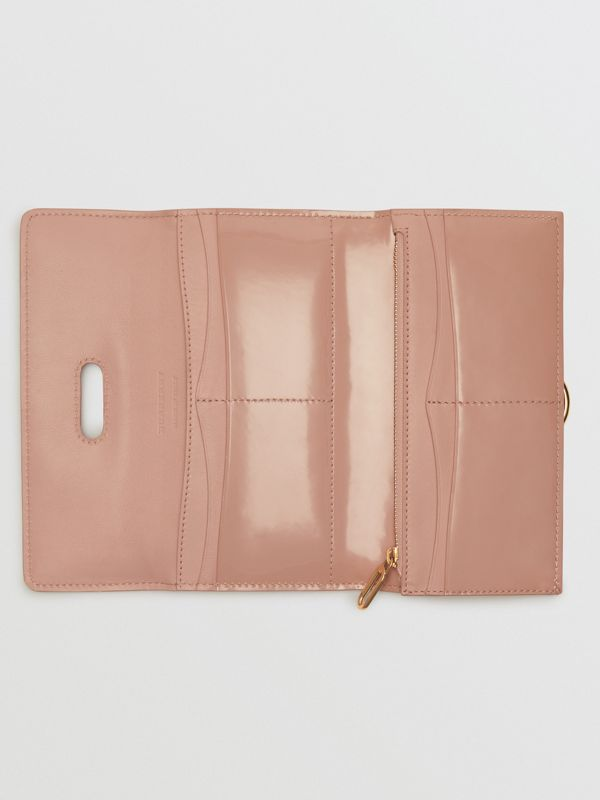 D-ring Patent Leather Continental Wallet in Pale Fawn Pink - Women | Burberry Australia - cell image 2