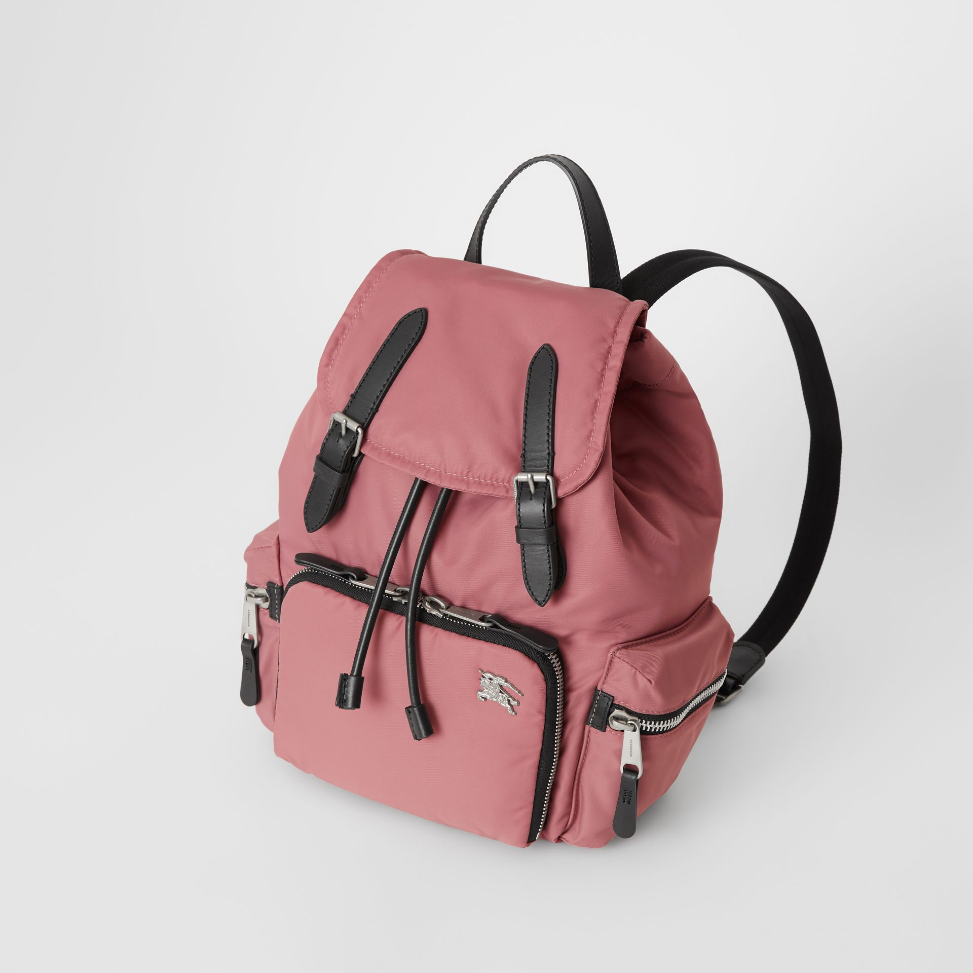 The Medium Rucksack in Puffer Nylon and Leather in Mauve Pink - Women | Burberry United Kingdom - gallery image 3