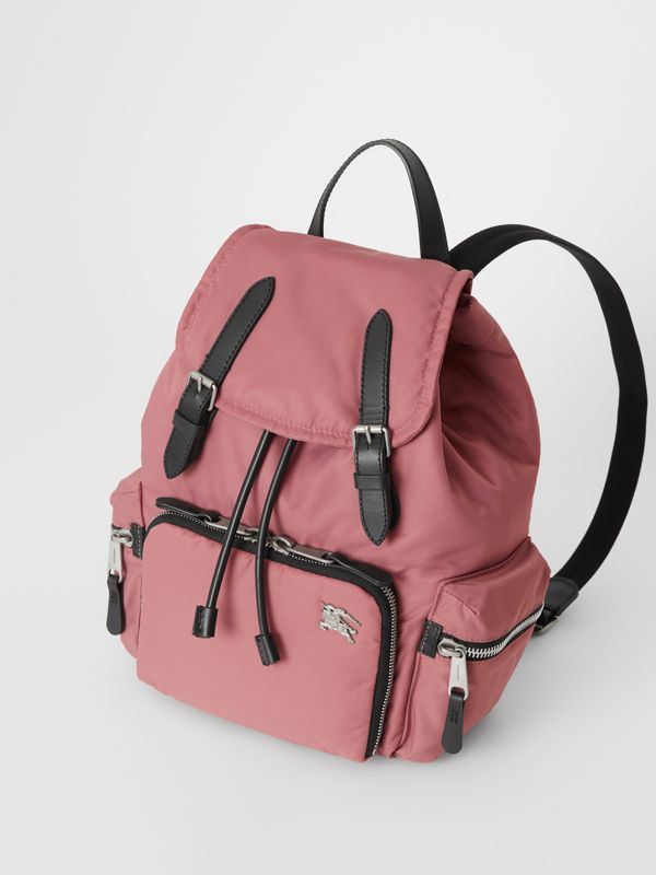 The Medium Rucksack in Puffer Nylon and Leather in Mauve Pink - Women | Burberry United Kingdom - cell image 3