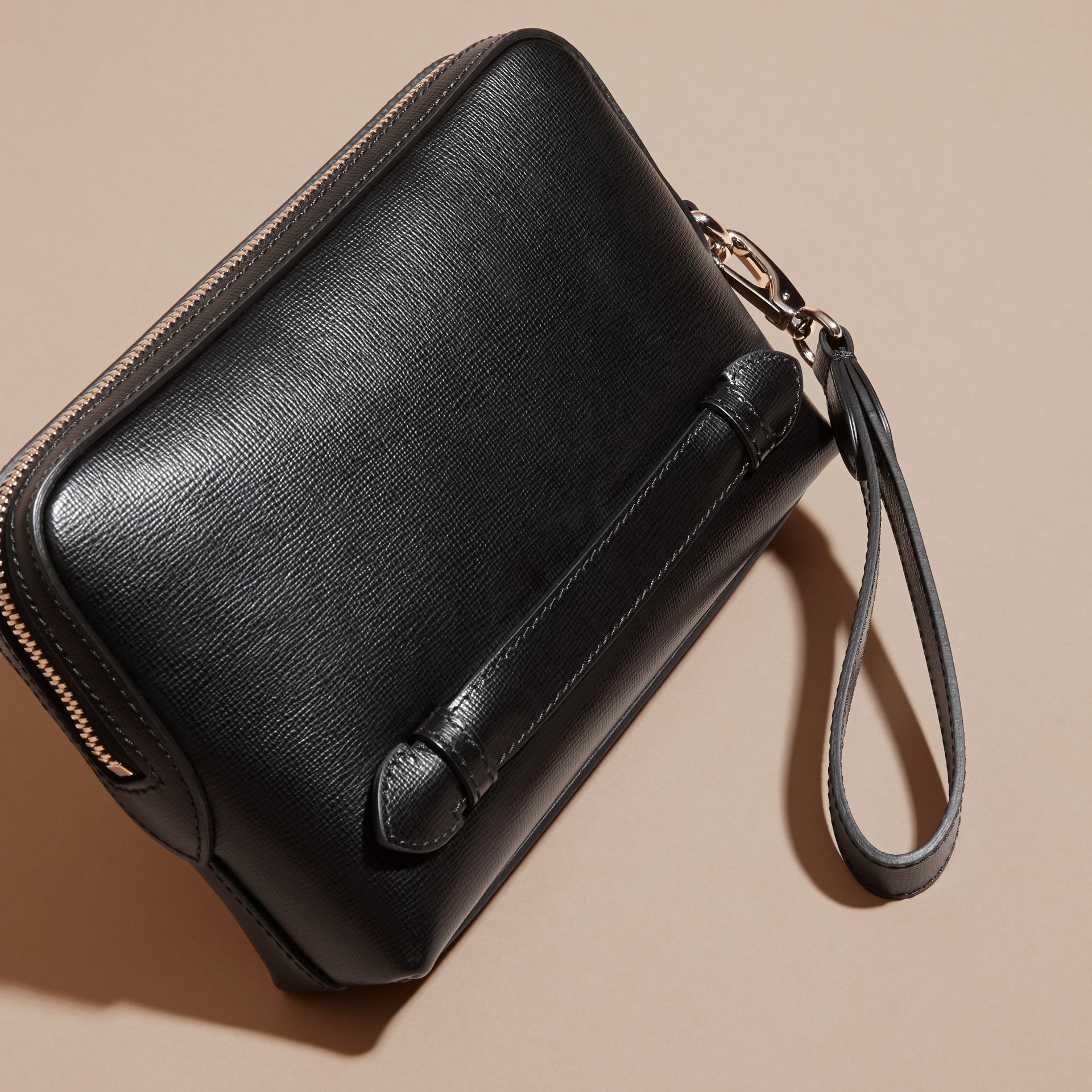 London Leather Pouch in Black - Men | Burberry Canada - gallery image 4