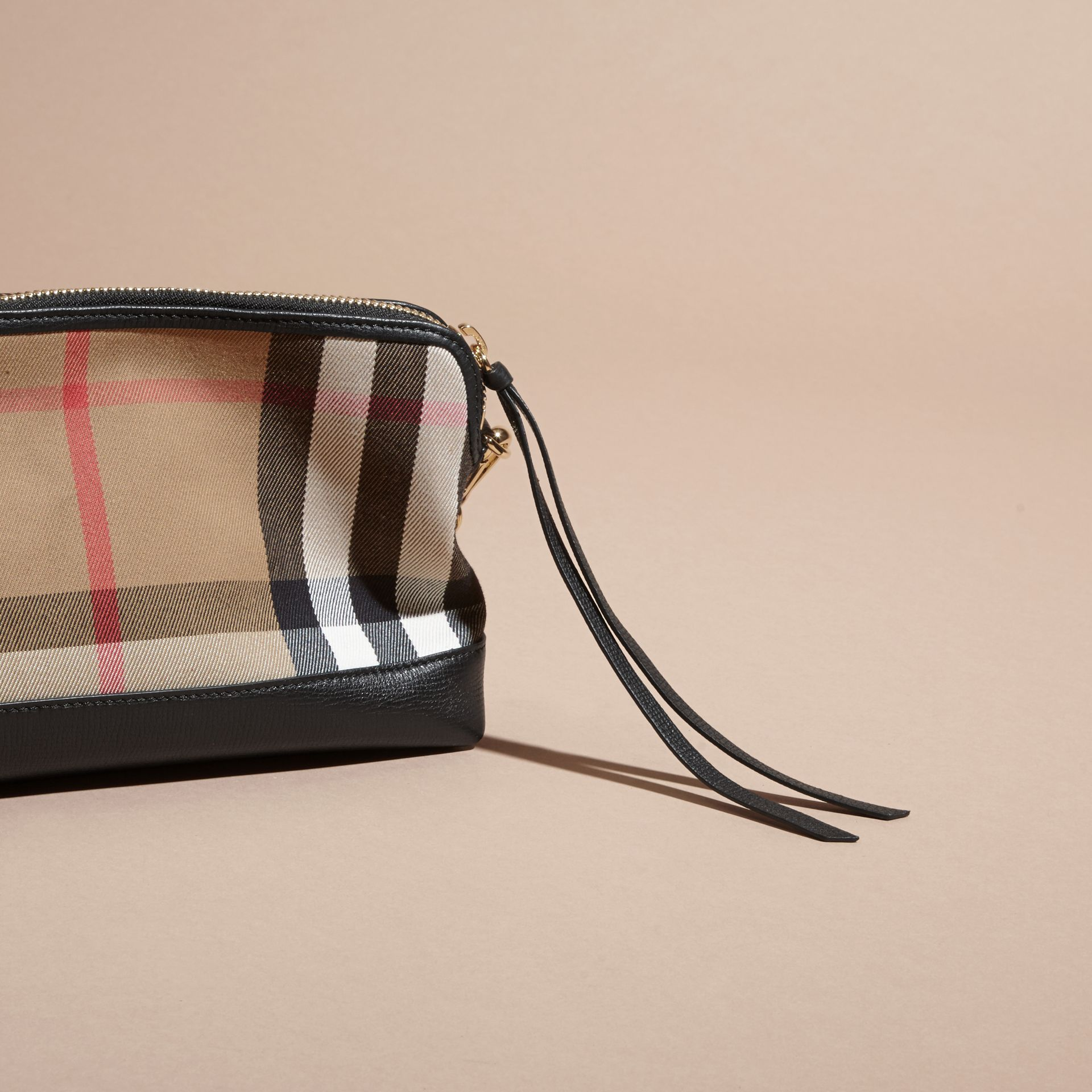 House Check and Leather Clutch Bag in Black - Women | Burberry Canada - gallery image 5