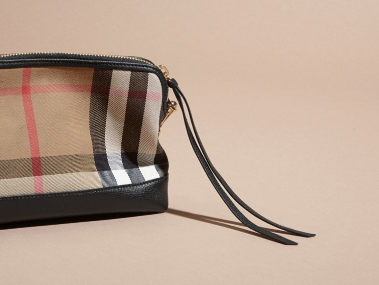 House Check and Leather Clutch Bag in Black - Women | Burberry Canada - cell image 4