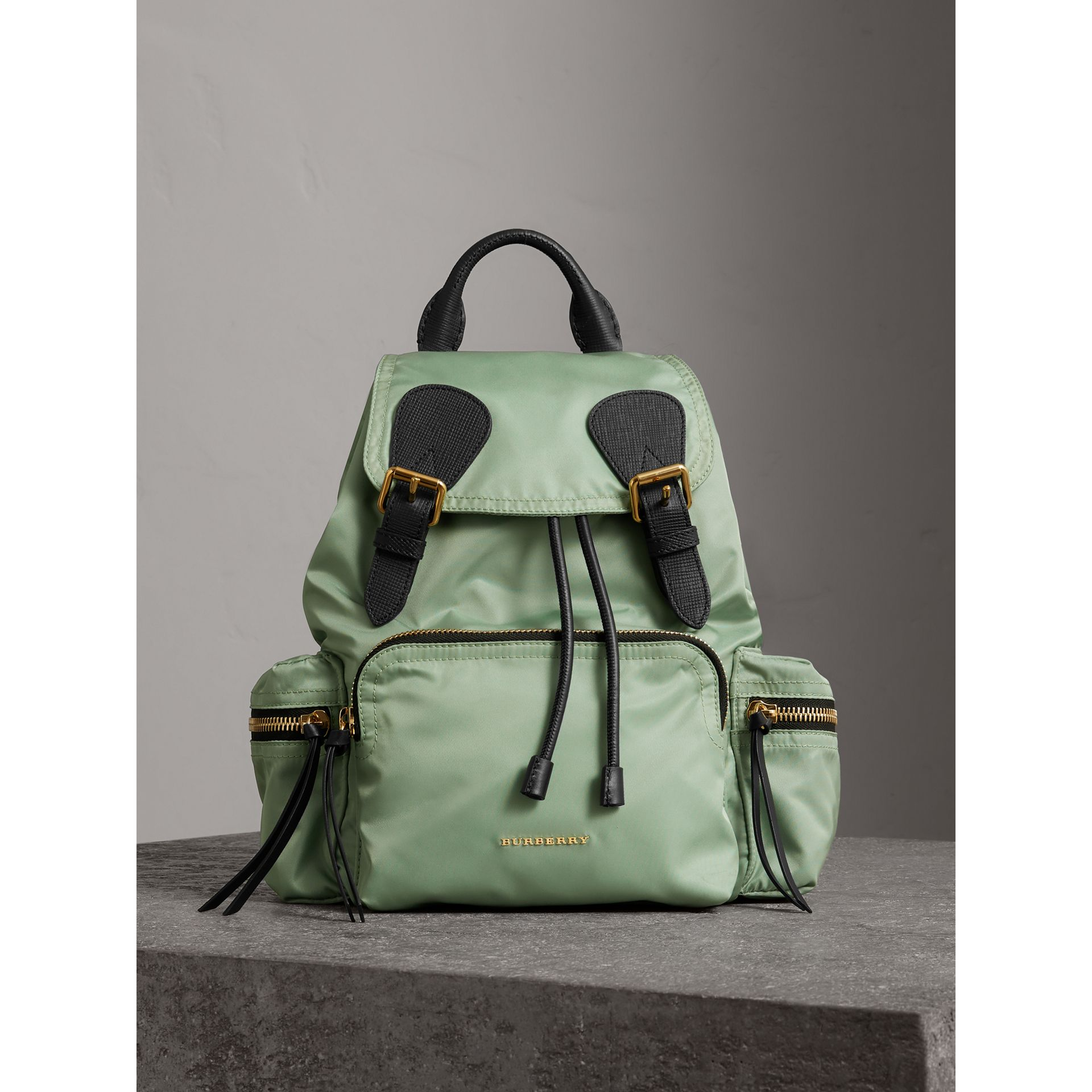 The Medium Rucksack in Technical Nylon and Leather in Apple Green - Women | Burberry - gallery image 6
