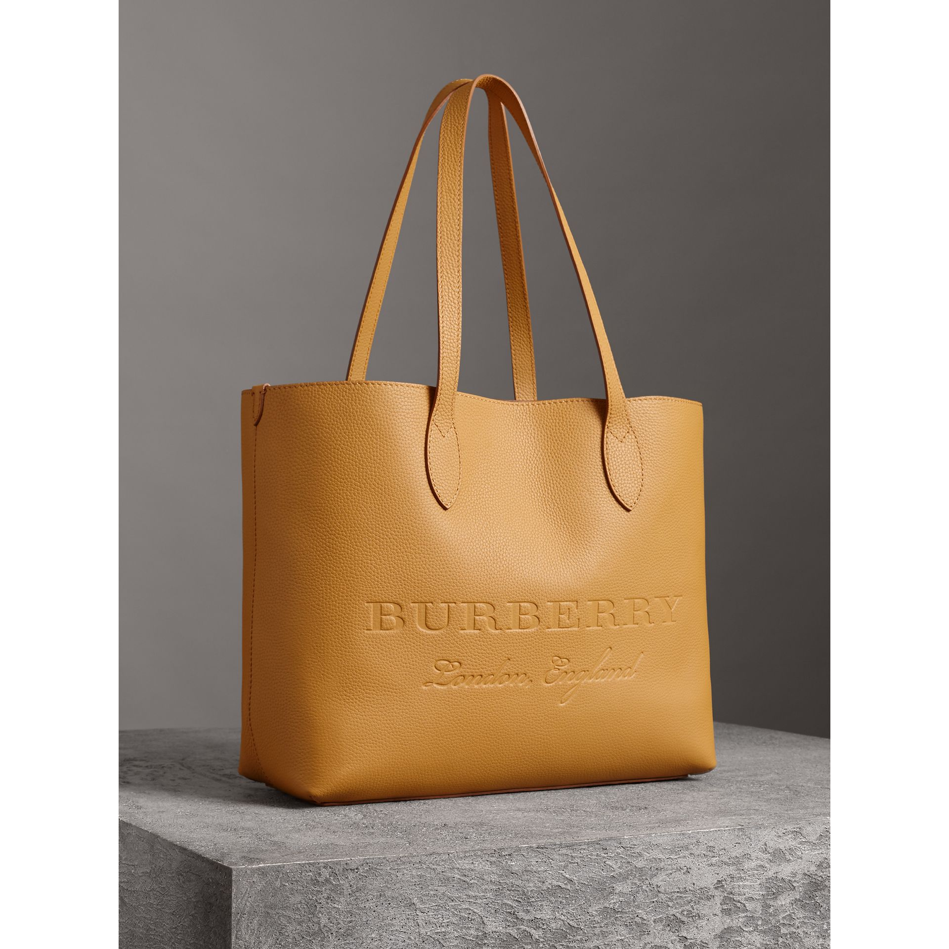 Embossed Leather Tote in Ochre Yellow | Burberry - gallery image 6