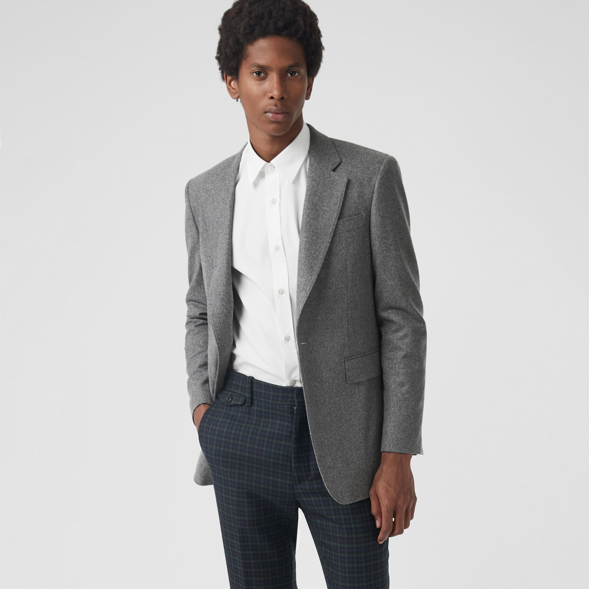 Modern Fit Wool Cashmere Tailored Jacket in Mid Grey Melange - Men | Burberry Australia - gallery image 4