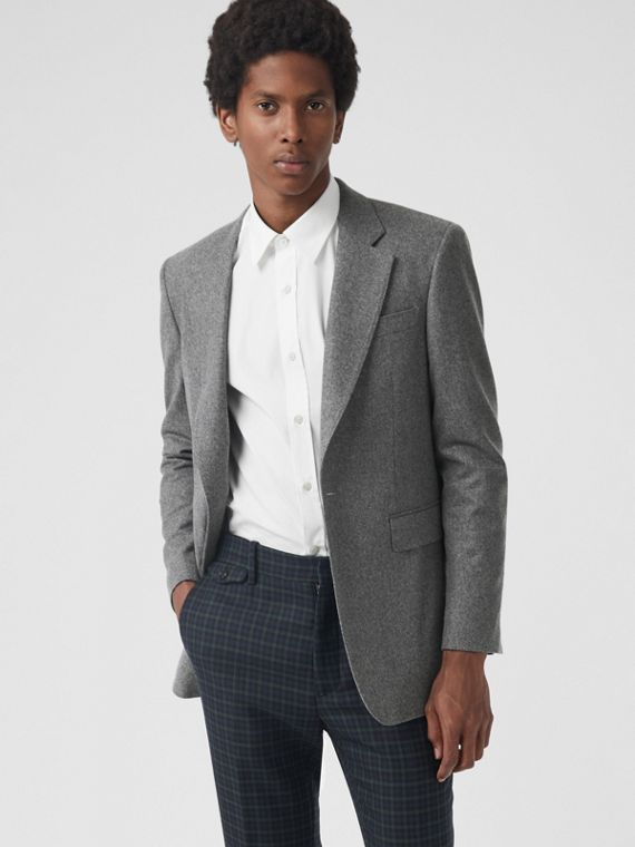 Classic Fit Wool Cashmere Tailored Jacket in Mid Grey Melange