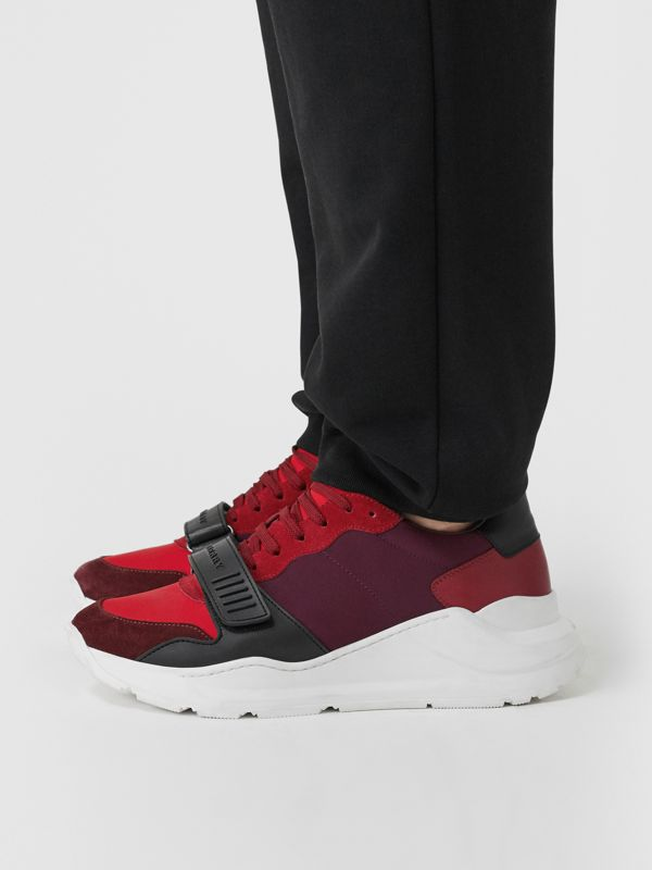 Suede, Neoprene and Leather Sneakers in Bordeaux - Men | Burberry - cell image 2