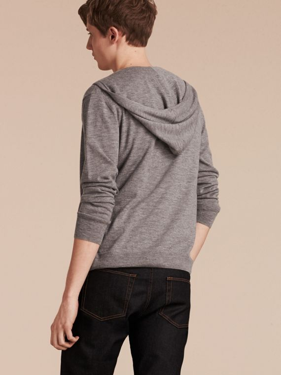Mid grey melange Hooded Cashmere Top - cell image 2