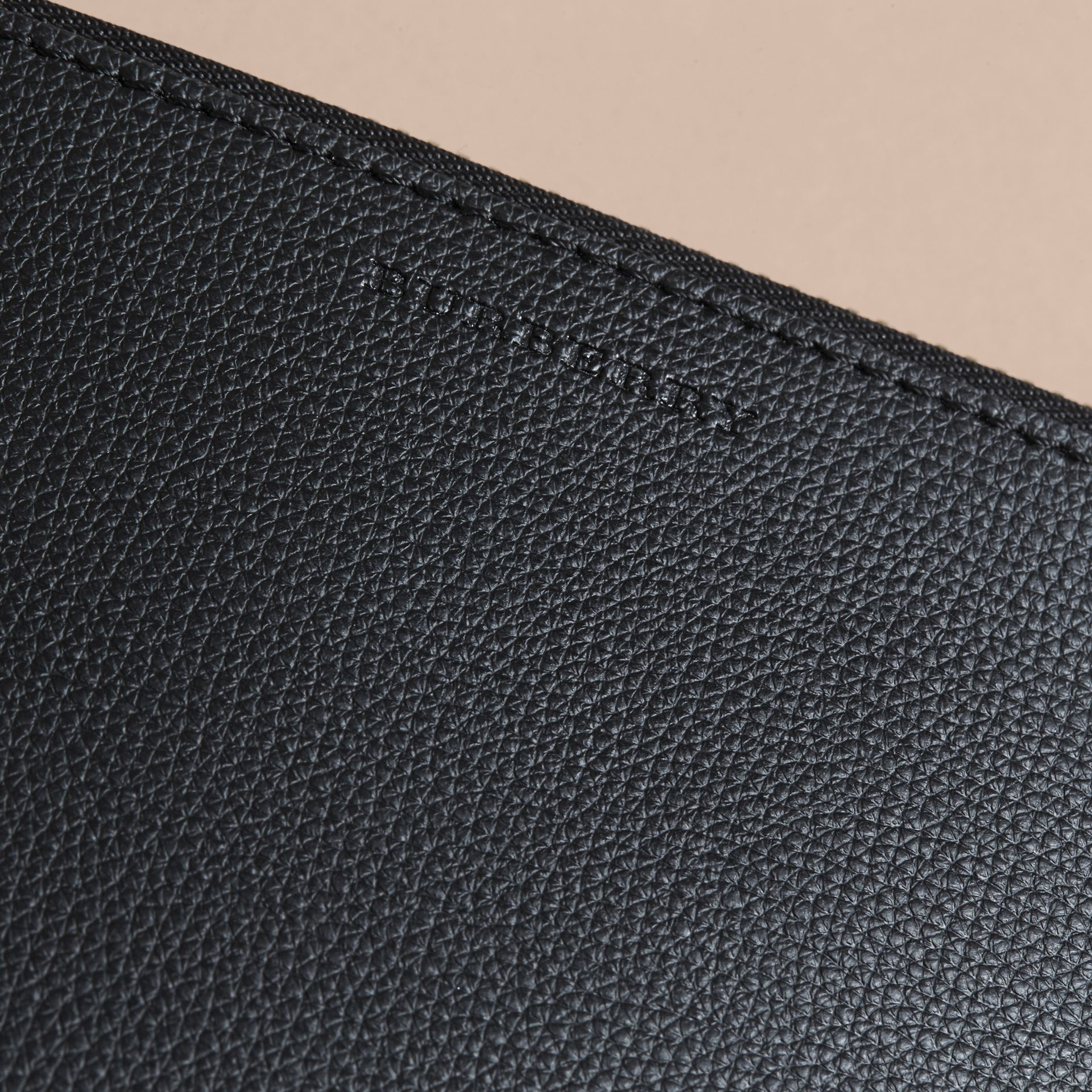 Haymarket Check and Leather Pouch in Black - Women | Burberry Australia - gallery image 2