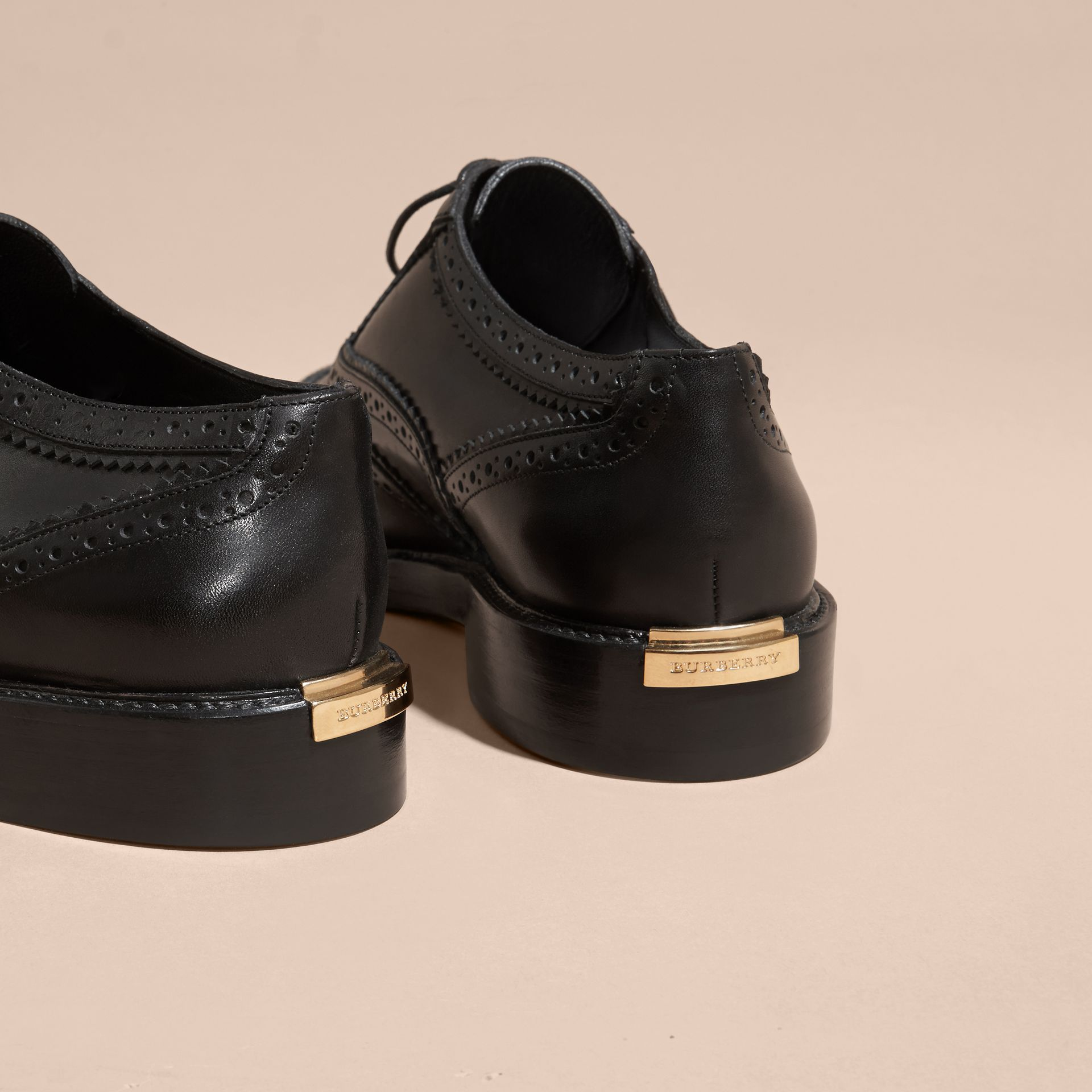 Leather Wingtip Brogues in Black - Women | Burberry - gallery image 4
