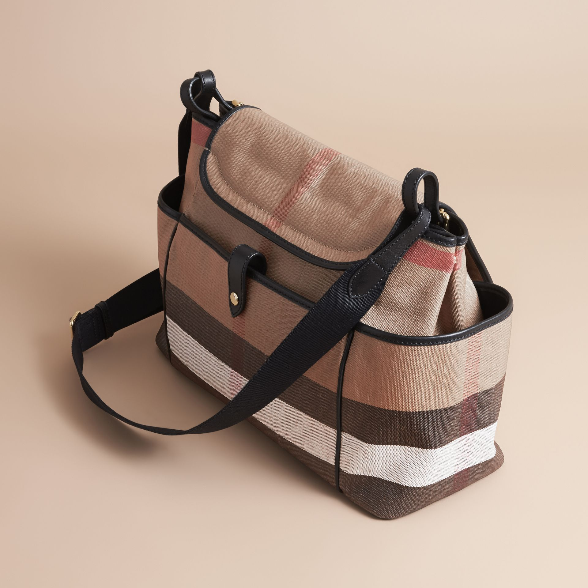 Canvas Check and Leather Baby Changing Shoulder Bag in Black - Children | Burberry United States - gallery image 2