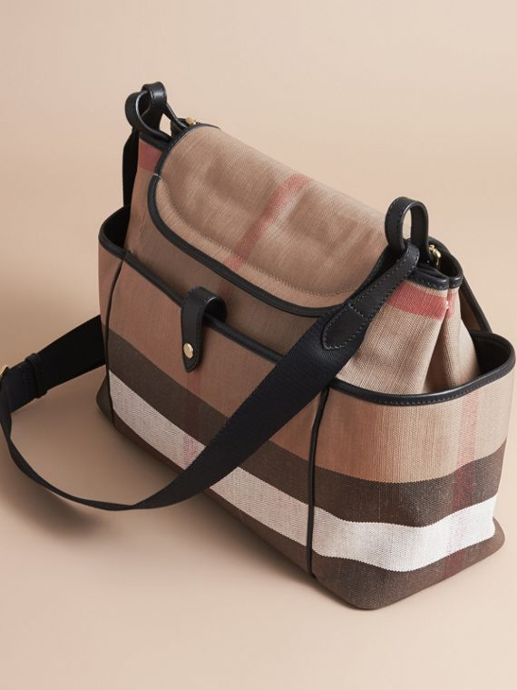 Canvas Check and Leather Baby Changing Shoulder Bag in Black | Burberry - cell image 2