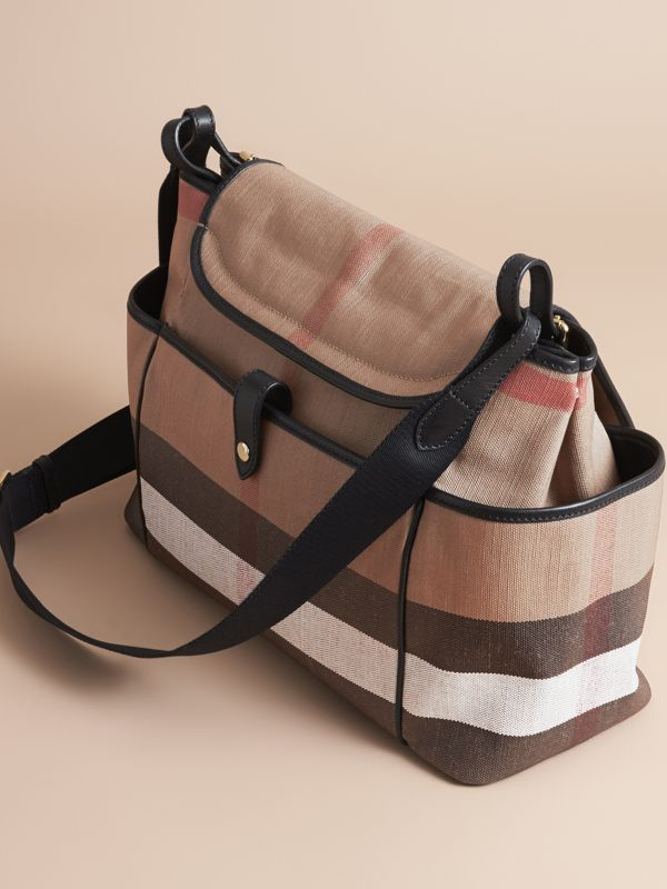 Canvas Check and Leather Baby Changing Shoulder Bag in Black - Children | Burberry - cell image 2