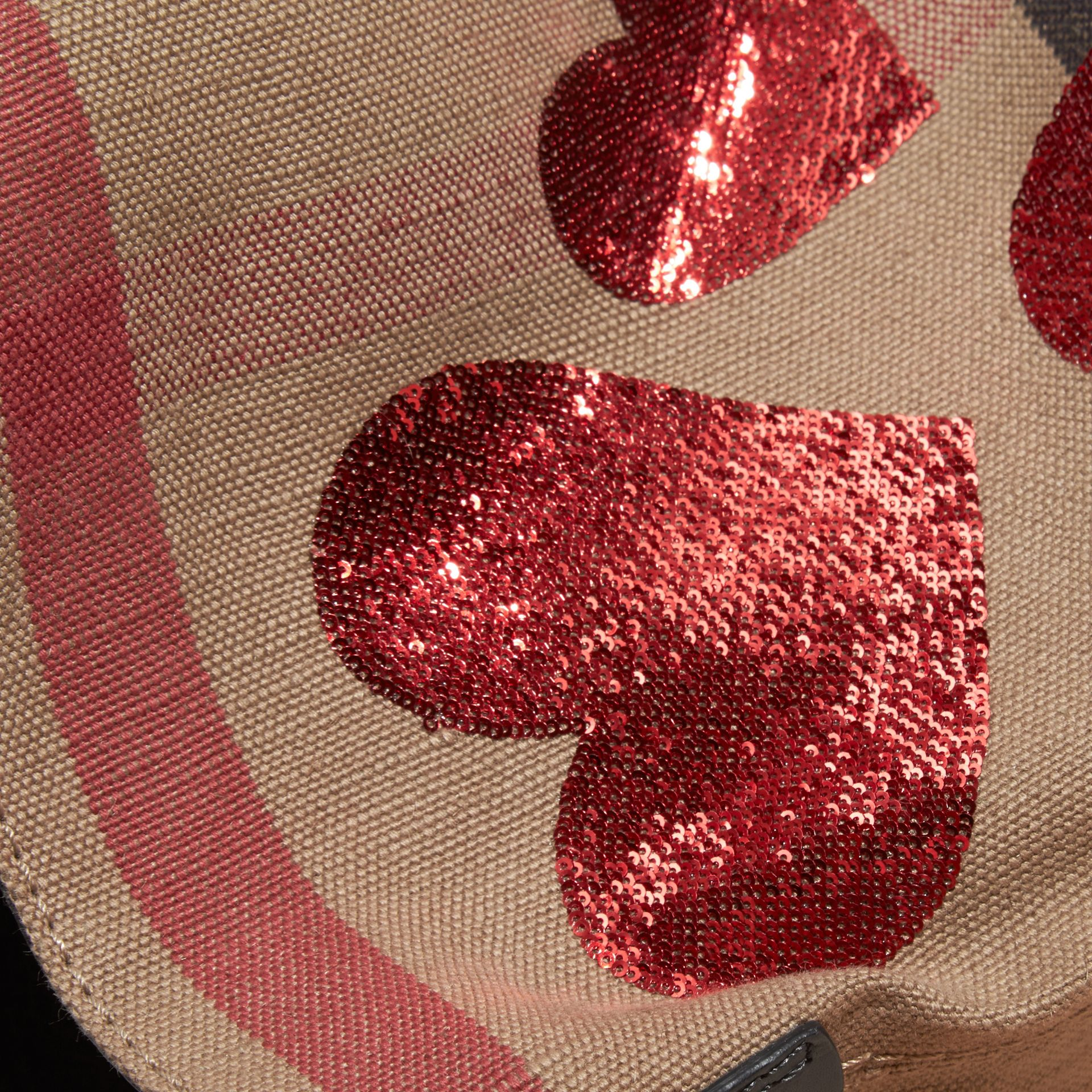 Red The Small Ashby in Canvas Check with Sequinned Hearts - gallery image 2