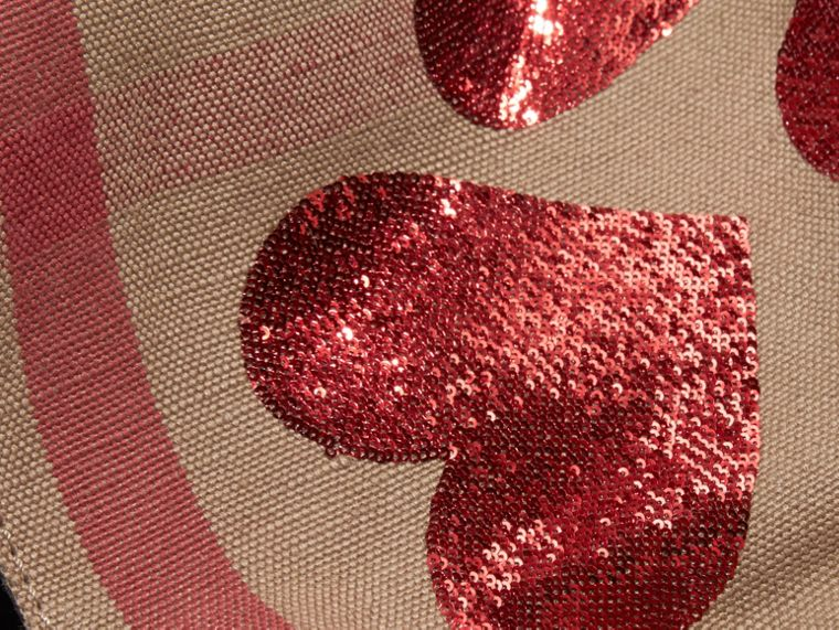 Red The Small Ashby in Canvas Check with Sequinned Hearts - cell image 1