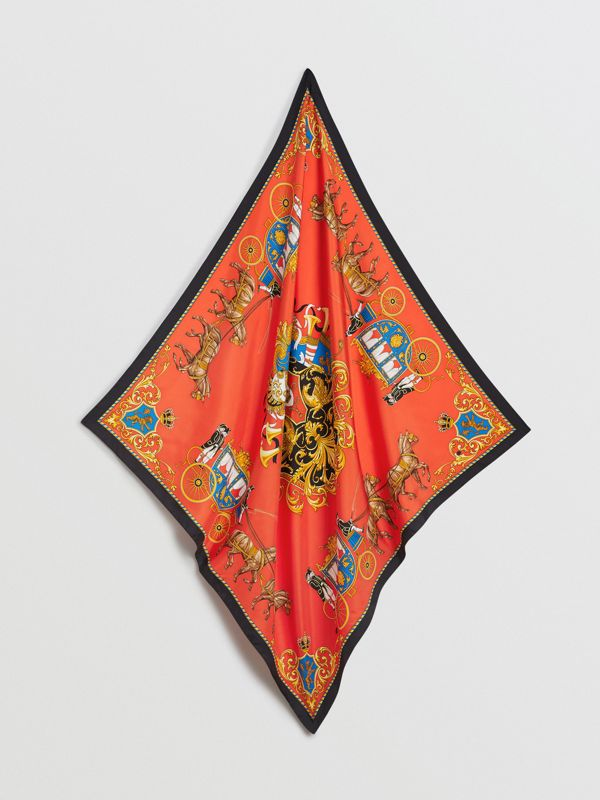 Archive Scarf Print Silk Square Scarf in Bright Red | Burberry - cell image 3