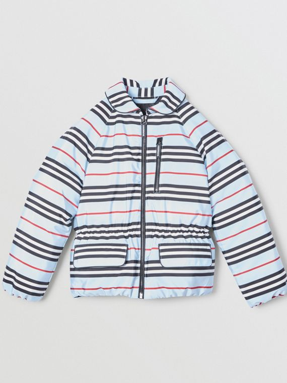 Icon Stripe Down-filled Jacket in Pale Blue